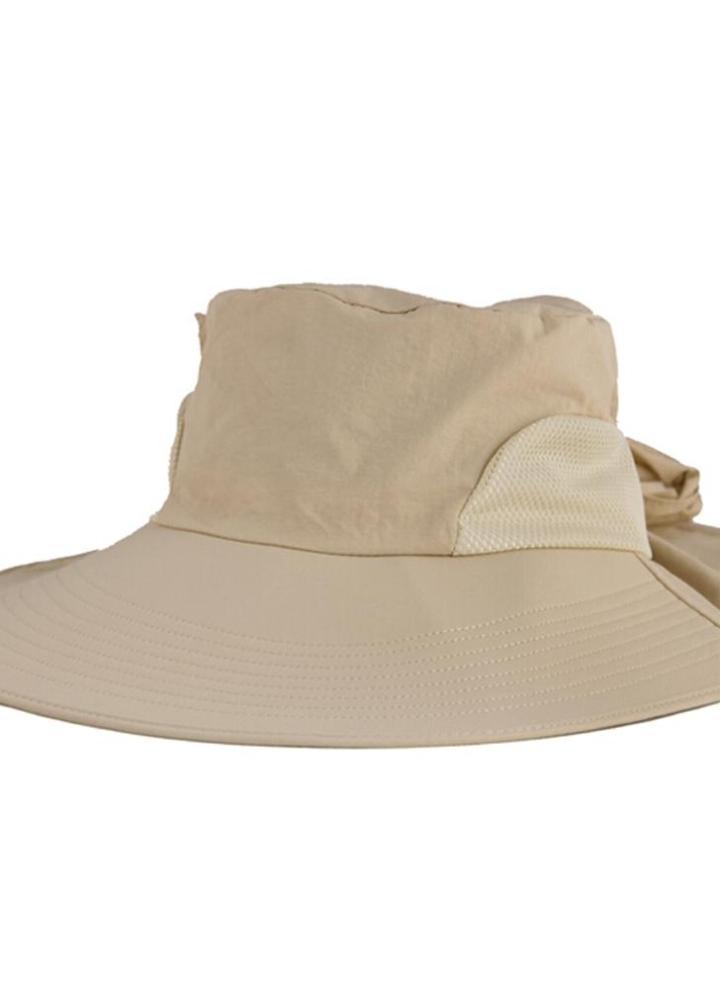 Moda mujer el sol sombrero Alón plegable atar arco verano playa Floppy Cap  sombrero color caqui 88483f5542d