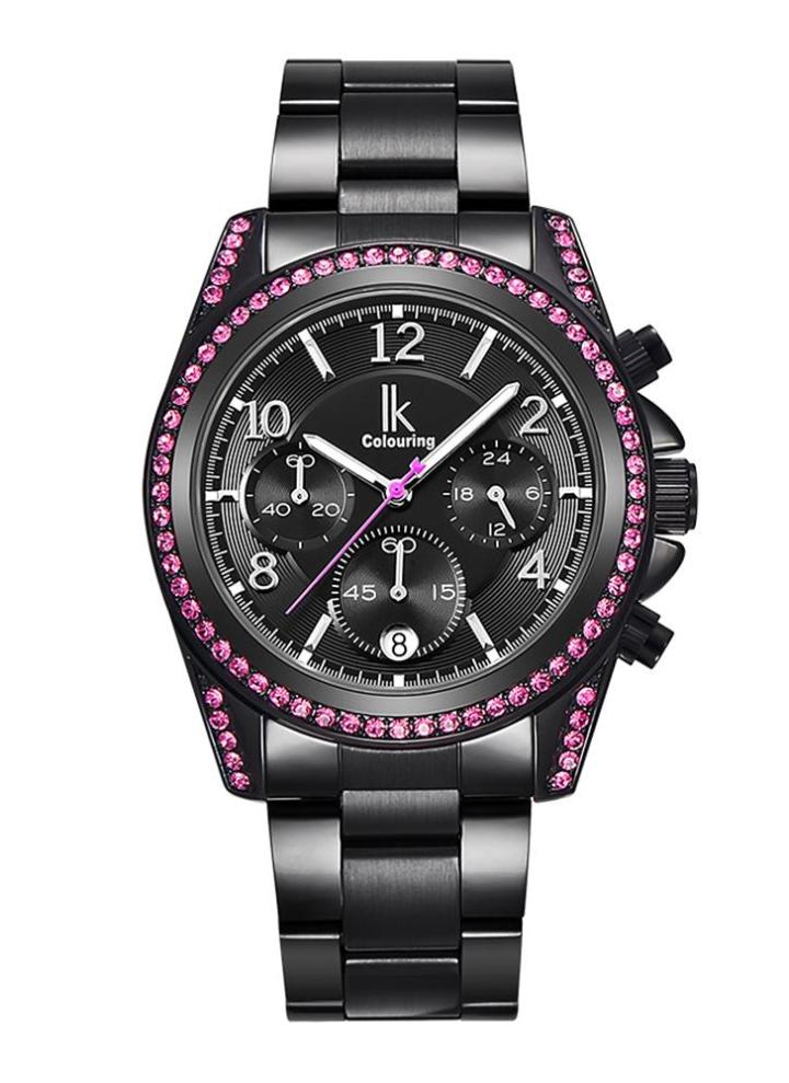 ec2d1b58f0ad4 IK Colouring 2017 Luxury Brand acciaio inox   cuoio genuino orologi delle  signore delle donne di