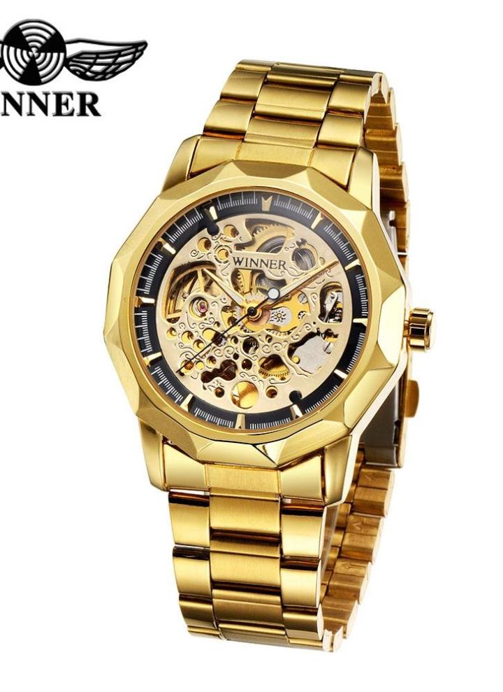 GANADOR negocio moda estilo esqueleto reloj mecánico automático lujo  brillante oro reloj automático reloj de pulsera 267dd896d358