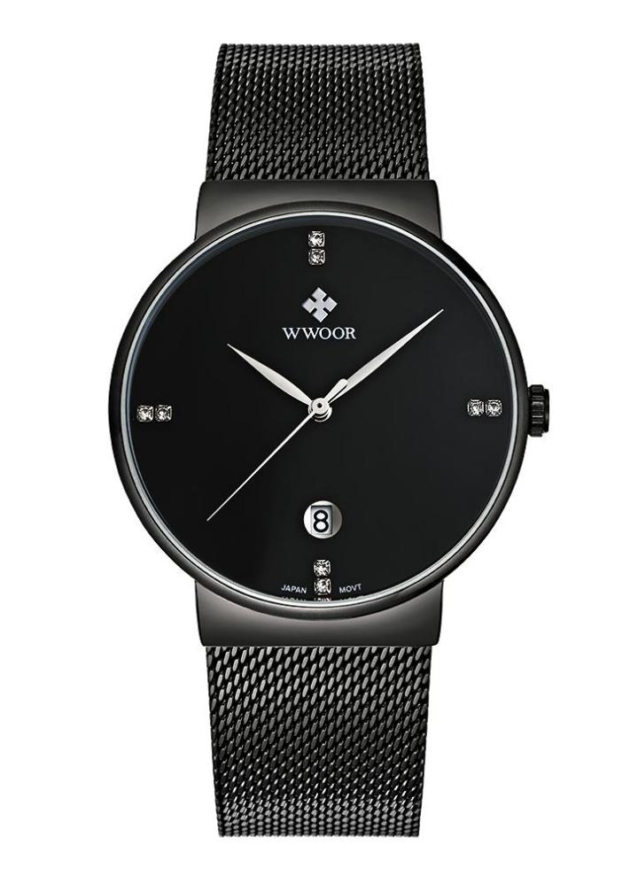 8dafd7e9410 WWOOR Ultrafino Moda Diamante de luxo Quartz Ananlog Homem ocasional relógio  de pulso de aço inoxidável