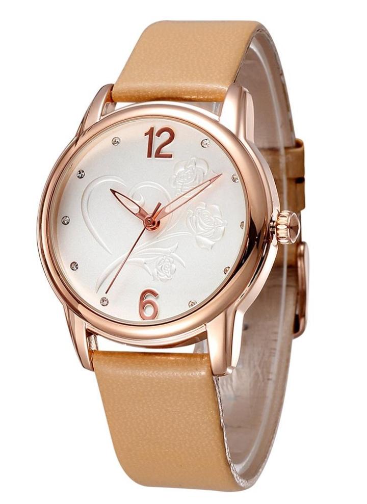 25a74da481b SKONE elegante quartzo relógio de pulso rosa coração padrão Dial PU  pulseira de couro oco relógio