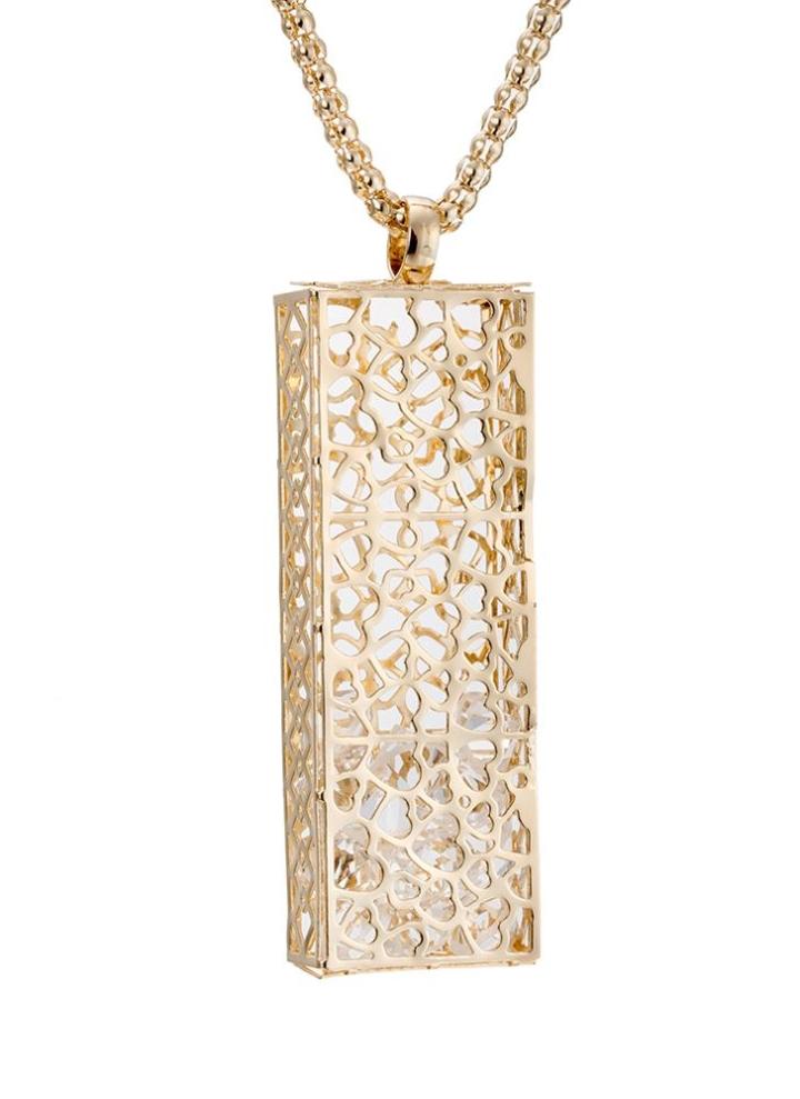 fdde148bb42da1 Cuivre Collier Plaqué Or Mode Rétro Unique Vintage Métal avec Long Hallow  Pendentif chaîne Robe pull bijoux pour les filles femmes cadeau