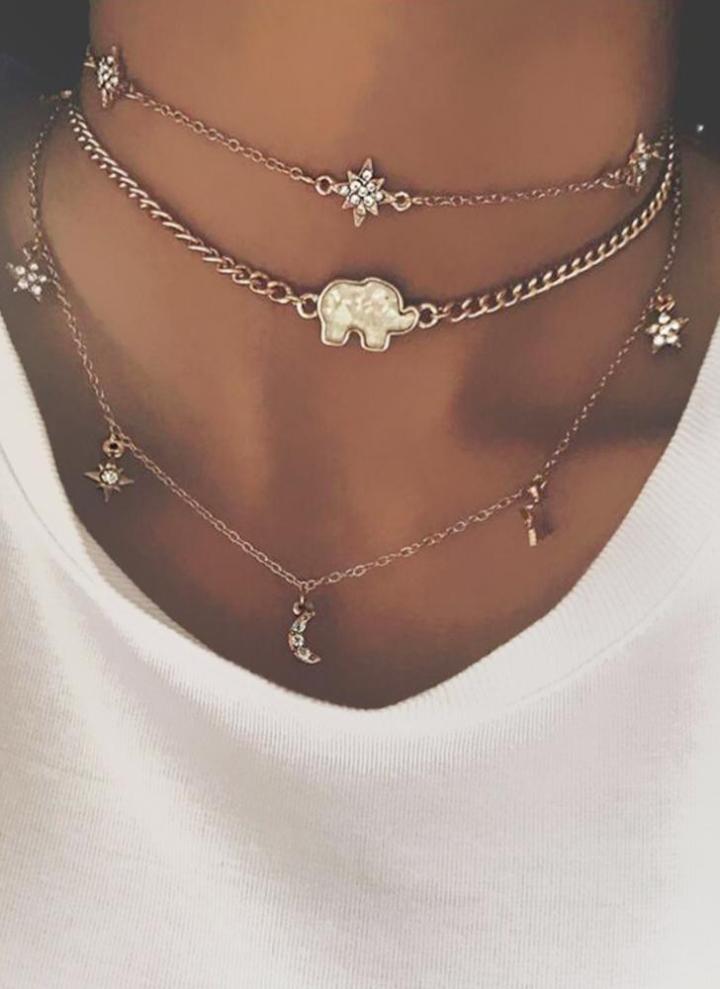 a34b89425e5824 Multicouche Collier Lune Étoile Éléphant Pendentif Collier Clavicule Chaîne  Femmes Bijoux