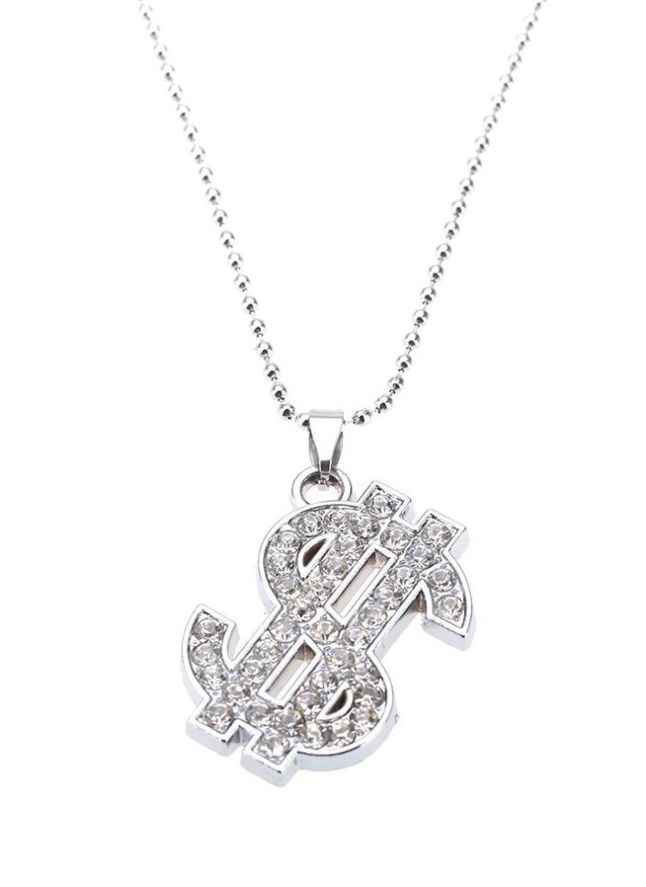 5c30ca7b93b605 Mode personnalisé strass Dollar américain pendentif collier chaîne Vintage  Retro homme Punk Womem bijoux accessoire