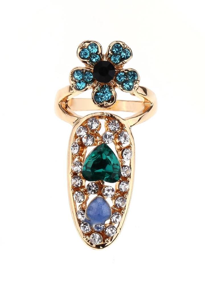12 Fashion Bowknot Crown Crystal Finger Nail Art Ring - Chicuu
