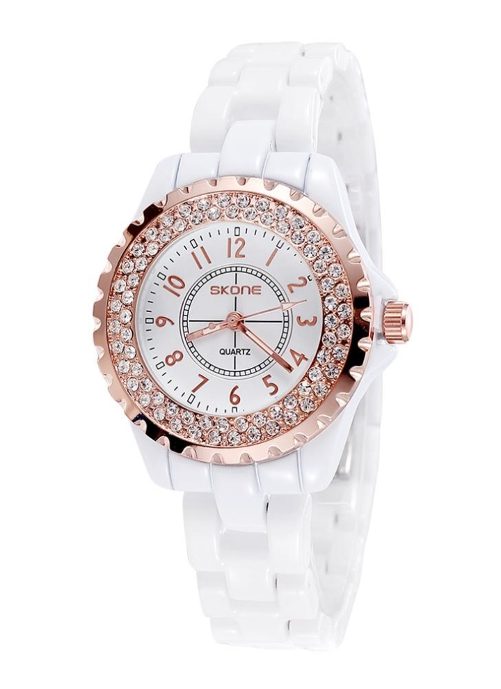 be43a686f7d SKONE moda Cool cerâmica impermeável Watchband Rhinestone excelente vindima incorporado  delicado relógio de pulso