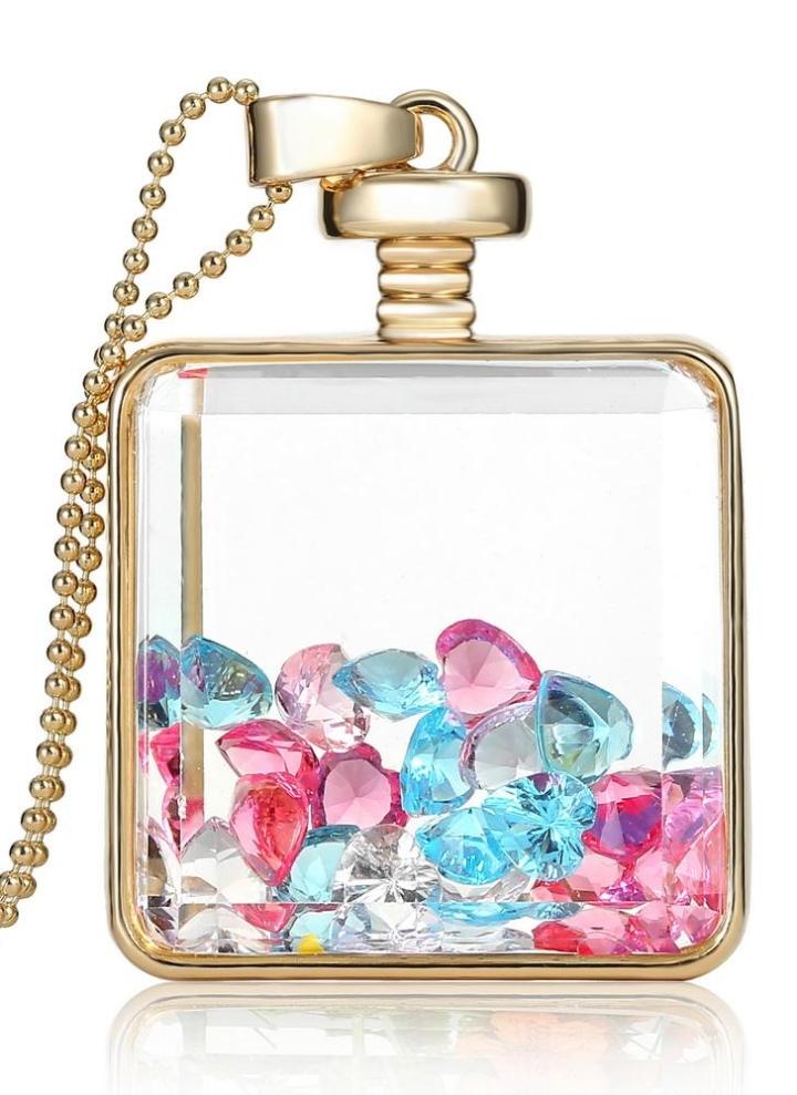 55aabdc25018 Moda nueva joyería romántica transparente cristal cristal Plaza flotante  medallón secado planta muestra oro plata
