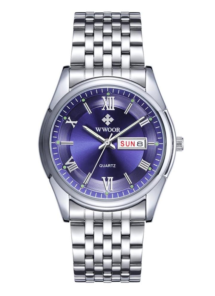 53c0e21c2f2 Relógio de pulso ocasional WWOOR Marca Vintage luminosos de quartzo  analógico aço inoxidável Homem de negócio