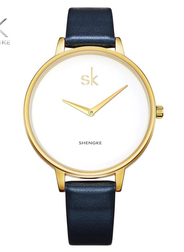 8afdb4b0fe2 SK 2017 moda simplicidad cuarzo reloj de pulsera de agua resistente a la PU correa  mujeres