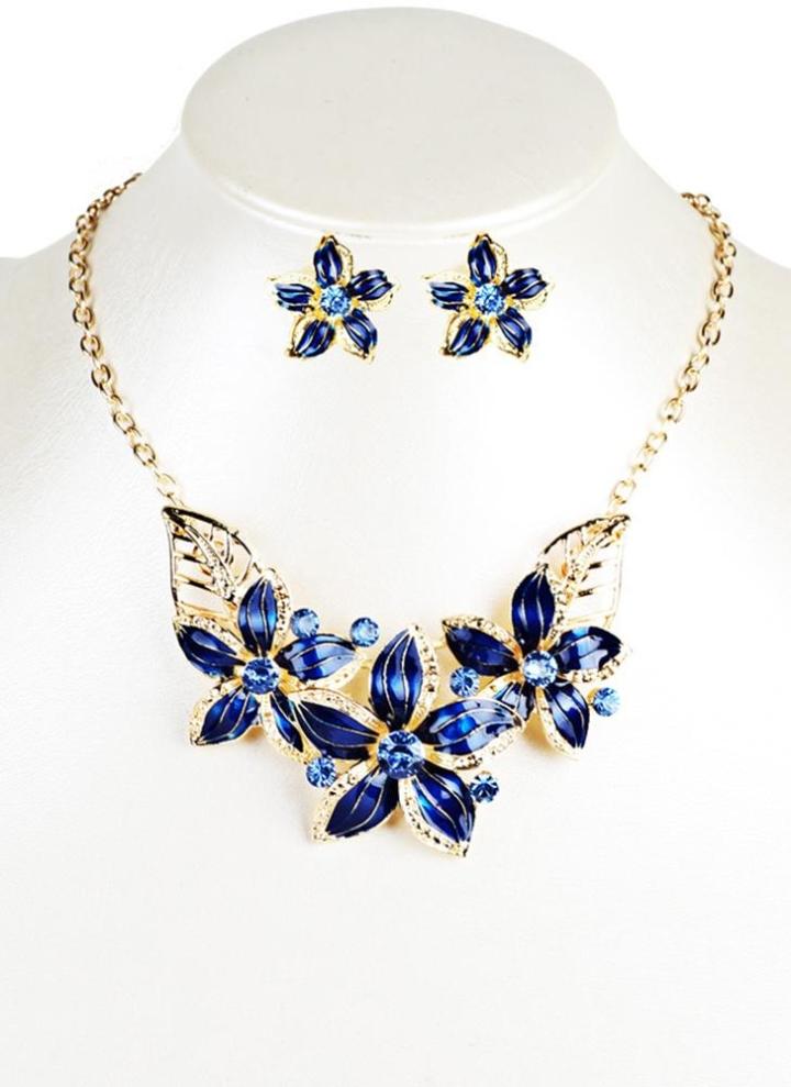 ef561af446ae Conjunto de joyas de moda flores gota diamante corto collar pendientes  mujeres accesorio del partido