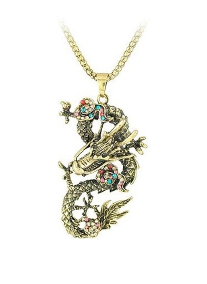 4d19ba9ae4fe23 Vintage rétro strass cristal bijoux Dragon chinois pendentif sautoir pull  chaîne de mode pour femmes filles