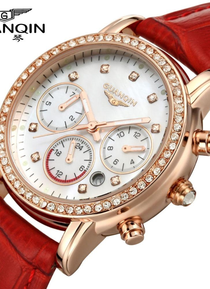 471da14b3e3 GUANQIN 2016 mujeres lujo marca relojes Cuarzo Vestido reloj impermeable  moda Diamante sintético zafiro cuero reloj