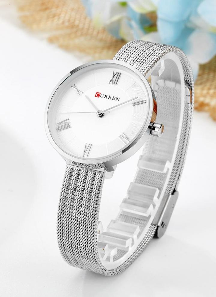 02157608d11 CURREN Moda Relógios de luxo de luxo em aço inoxidável Quartz 3ATM Mulher  impermeável Casual Relógio