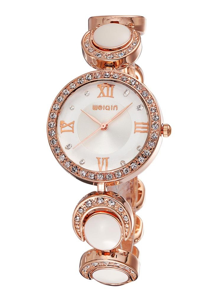 394acc7f807e WeiQin lujo diamante Rhinestone mujer reloj de pulsera Vintage romano  número mujeres cuarzo reloj de acero
