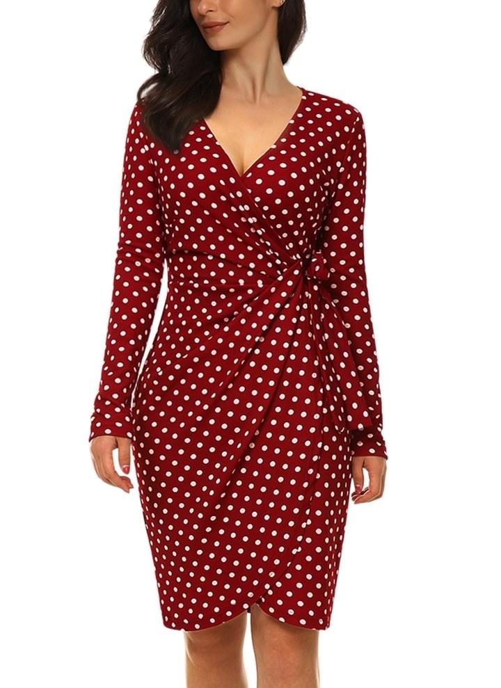 f9880d29de22 2 l Deep V-Neck Side Pleated Lace Long Sleeve Dress Black S - Divains