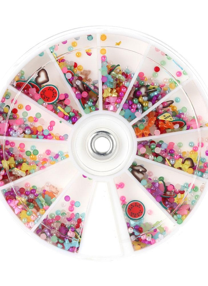12 Large Disc Round Wheel Mixed 3d Glitters Rhinestones Nail Art