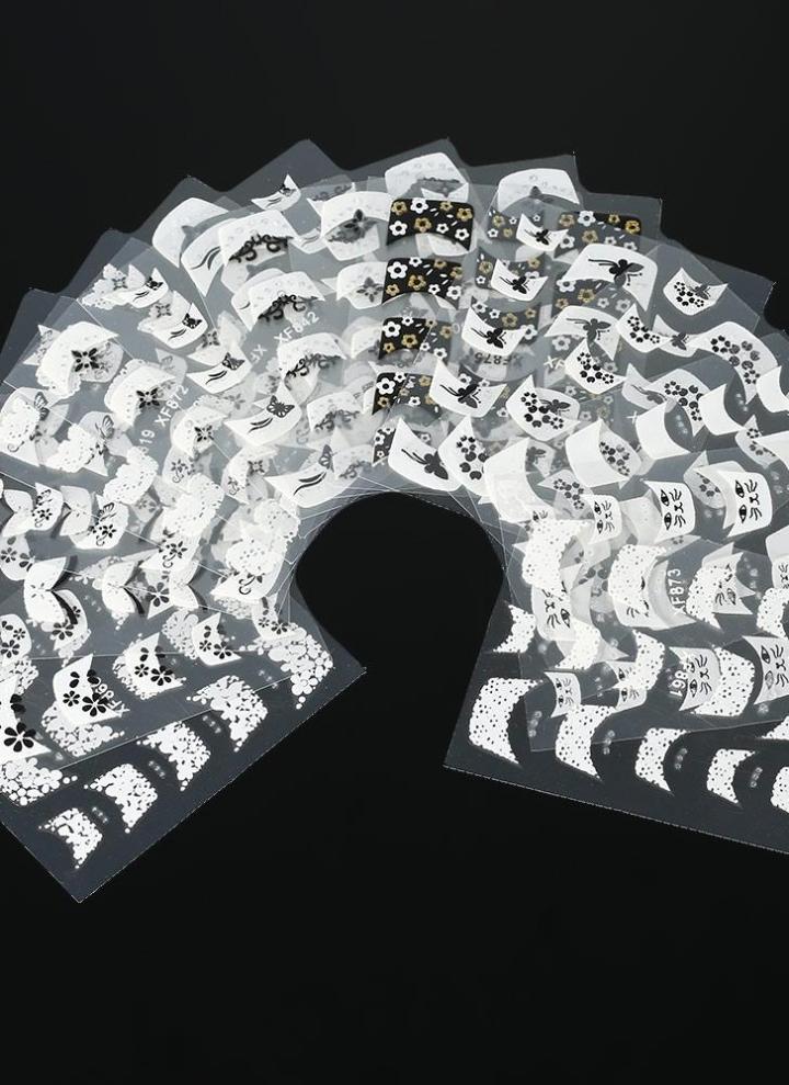 15Sheet diseño Floral 3D uñas de arte pegatinas flor blanca encaje ...