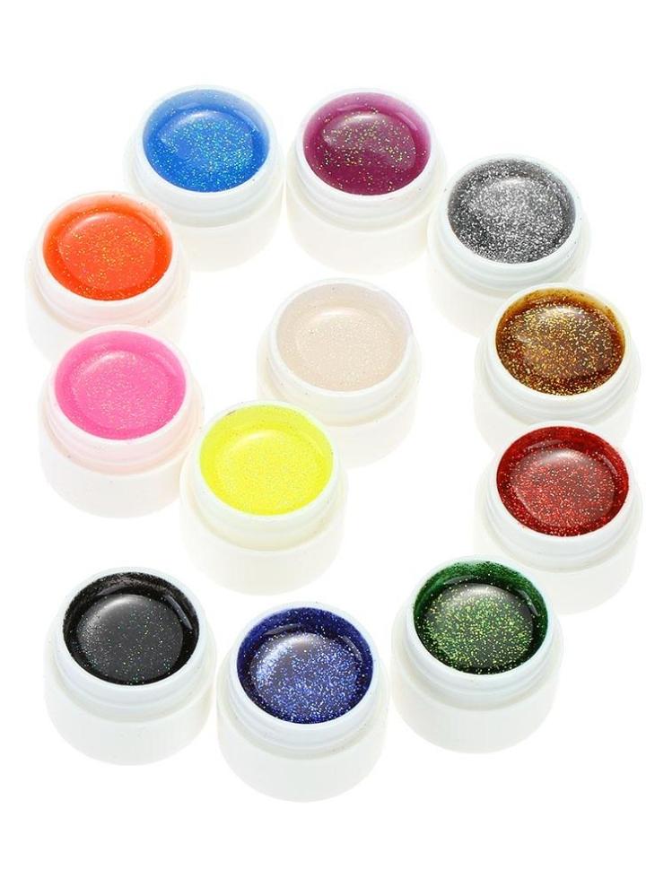 anself 12st mix farben funkeln puder uv gel nagel kunst - Muster Fur Gelnagel