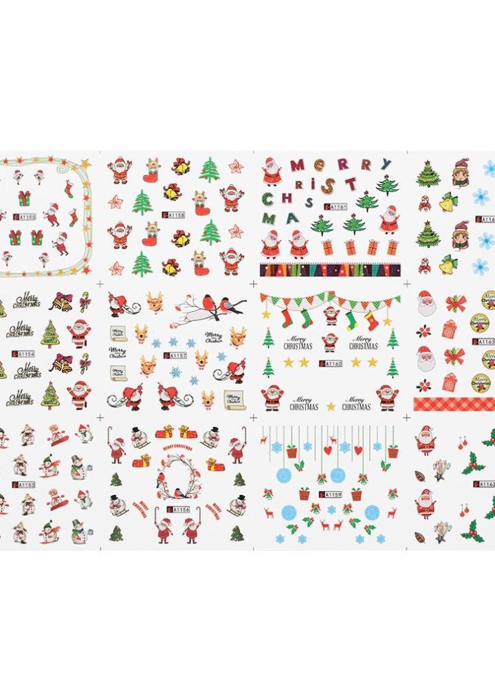 2 1 stück / 12 sätze Nagel Maniküre Decals Weihnachten Aufkleber Set ...