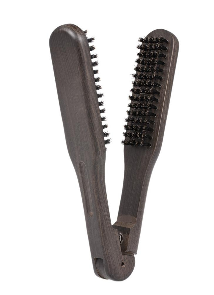 Straightening Comb Double Sided Brush Clamp Hair Hairdressing Natural Bristle Hairstylig Tool