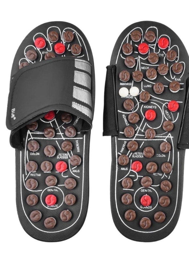 bd90b7d4a77b black l Acupressure Massage Slipper Foot Massager Jade Stone Acupoint  Massage Slippers Shoes Reflexology Sandals for Men Women - Chicuu