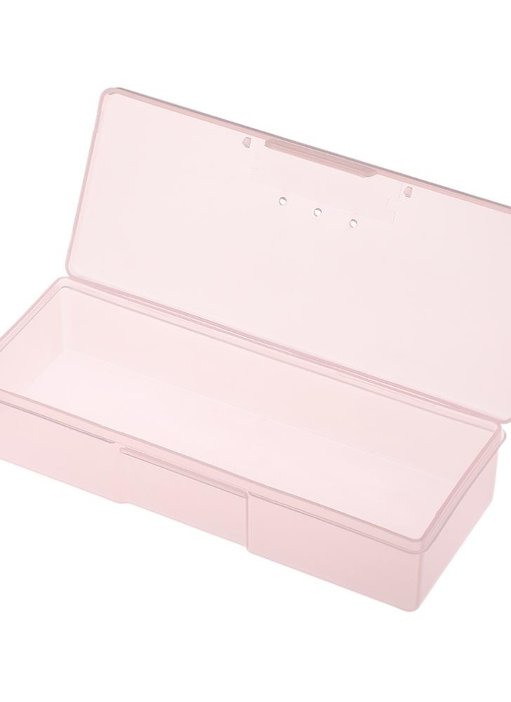 Pink Rectangle Nail Storage Box Plastic Empty Case For Tweezers