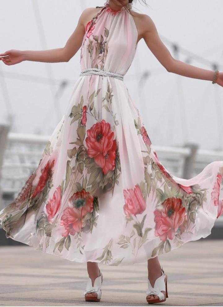 rot xl Sommer-Frauen Chiffon Maxi-Kleid mit Blumenmustern ärmel ...