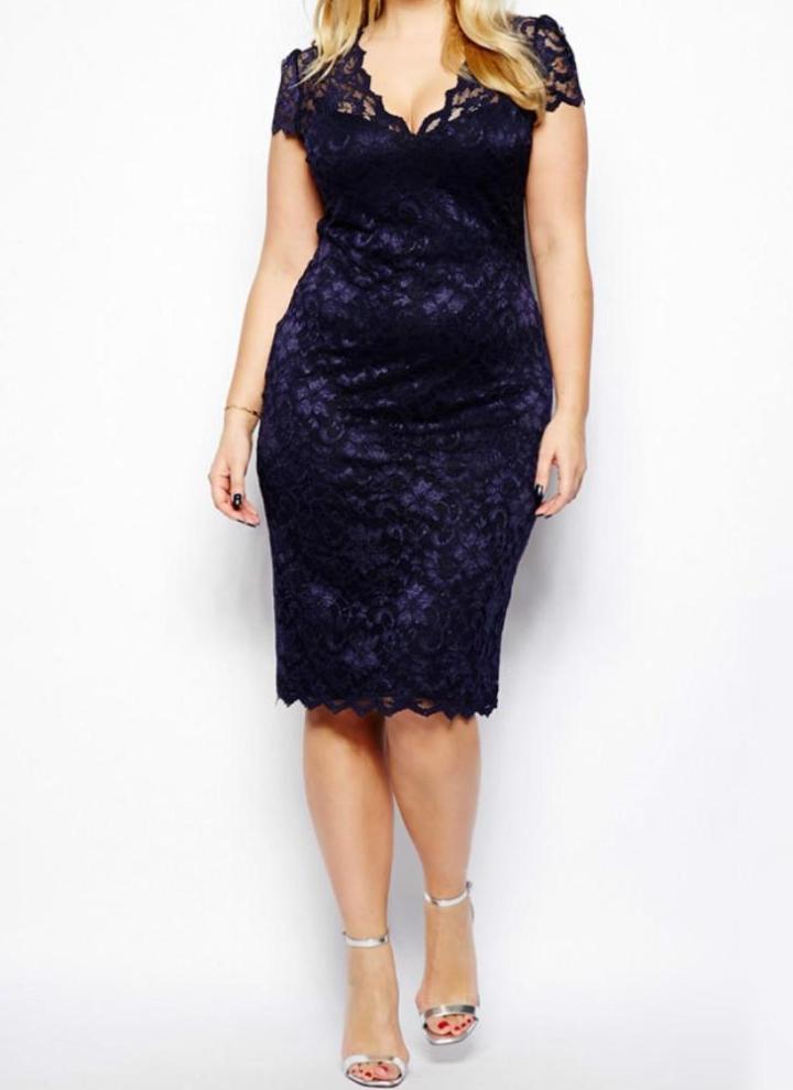 Dark Blue L Elegant Floral Lace V Neck Plus Size Womens Bodycon