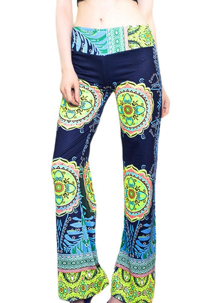 c414012d7779 Femmes Vintage jambes larges pantalons taille élastique imprimé Floral  Palazzo longue Casual Yoga Baggy pantalon vert