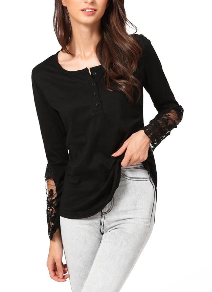 Mujer casual blusa costura malla de encaje camiseta manga larga camisa ocio  Slim negro de empalme