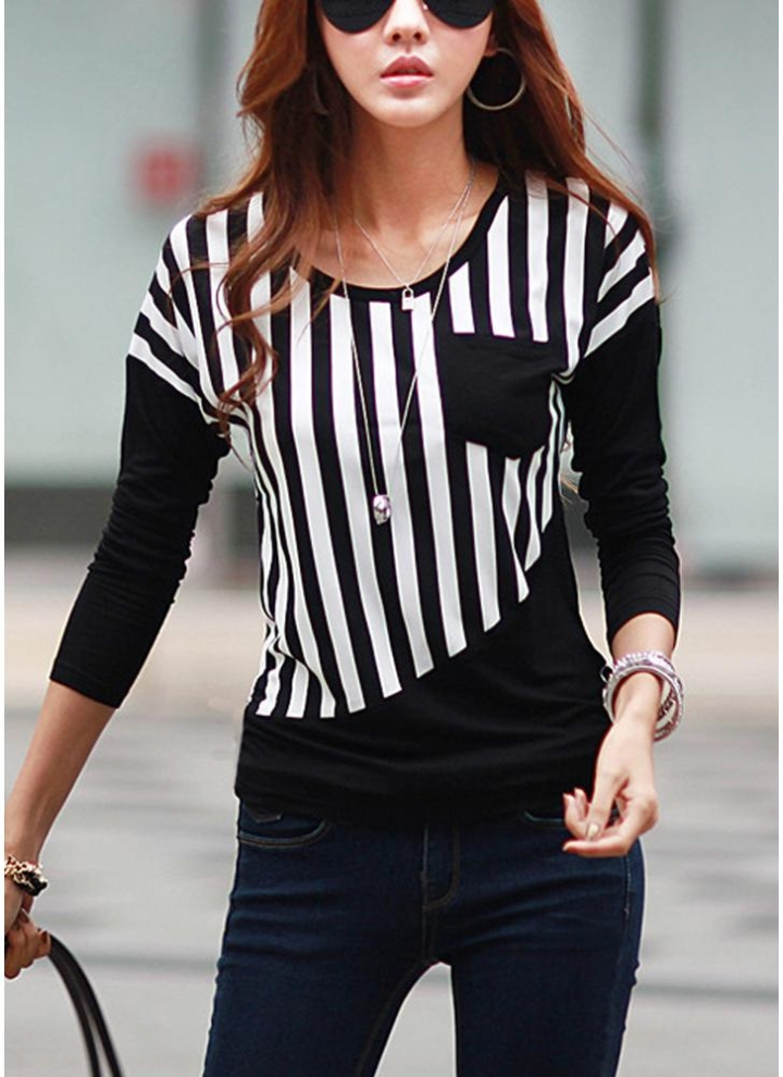 Nova moda mulheres camiseta listrada Patchwork peito bolso manga longa blusa  Casual Tops Tee branco  7674be15db1