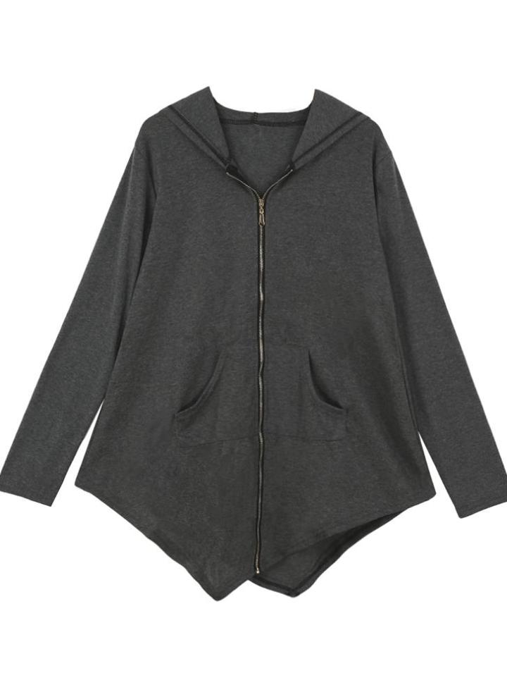 Neue Frauen Mantel lange Hoodie asymmetrische Saum Reißverschluss Schließung Taschen Oberbekleidung Sweatshirt Pullover schwarzgrau