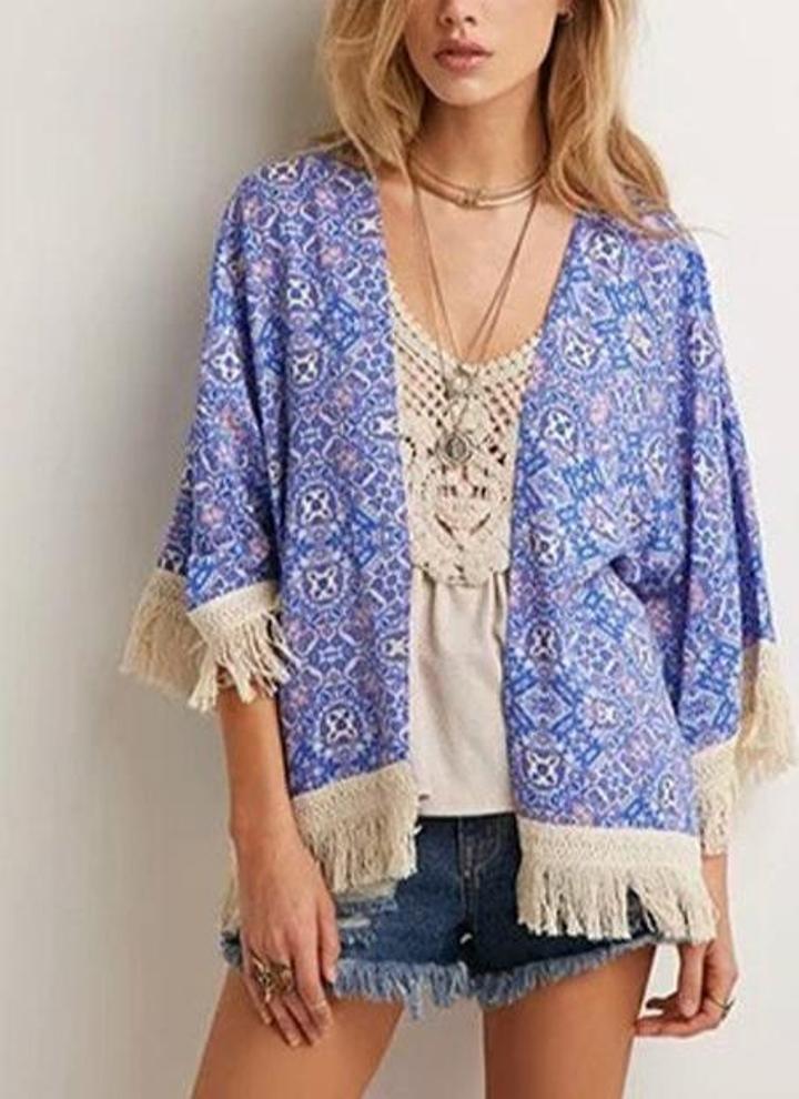 s azul Mujeres Vintage Kimono gasa Floral impresión borlas con ...