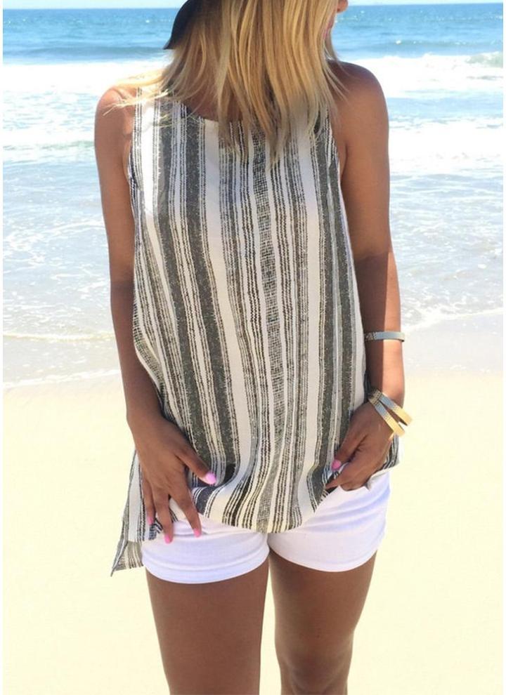 07e804bb21e81e Canotta donna a righe lino serbatoio Casual t-shirt senza maniche gilet Top  asimmetrico Hem