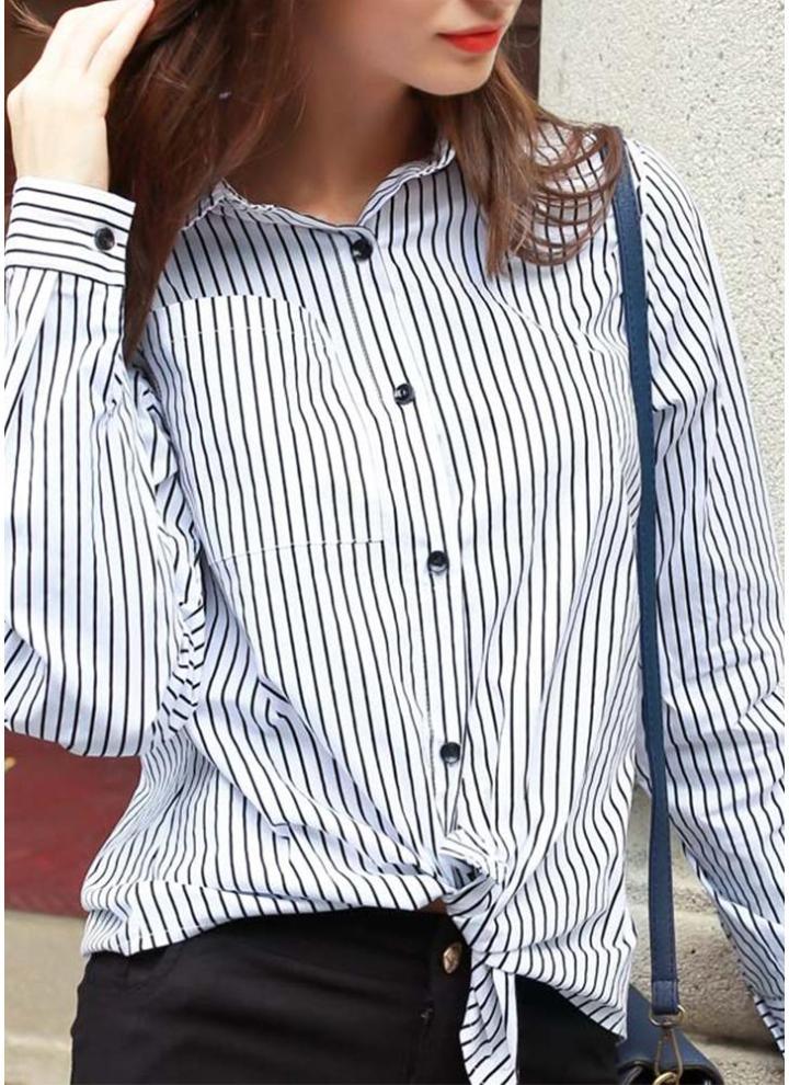 077acfd5dc Botão de Moda de Nova Camisa das mulheres Stripe impressão Ponto de manga  comprida Collar OL