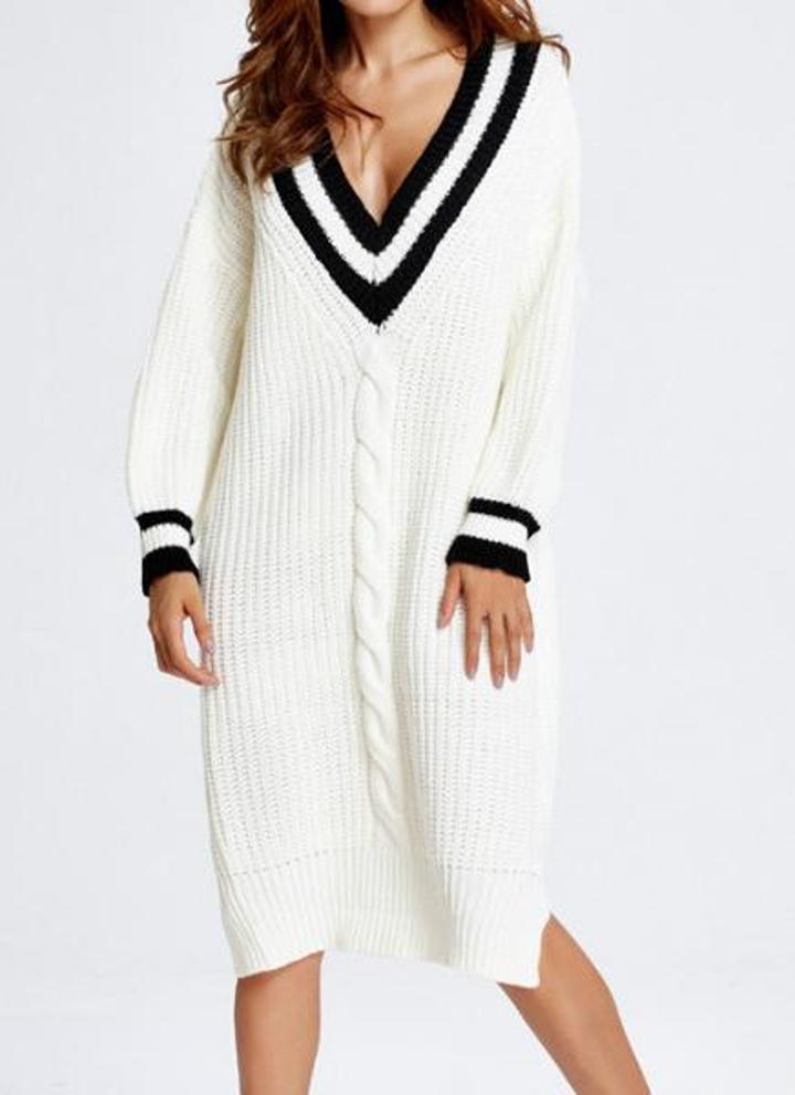 8324a633aaa0 Kontrast neuer Herbst-Frauen Lange Strickpulloverkleid Pullover Pullover  mit tiefem V-Ausschnitt Split Lässige Strickwaren