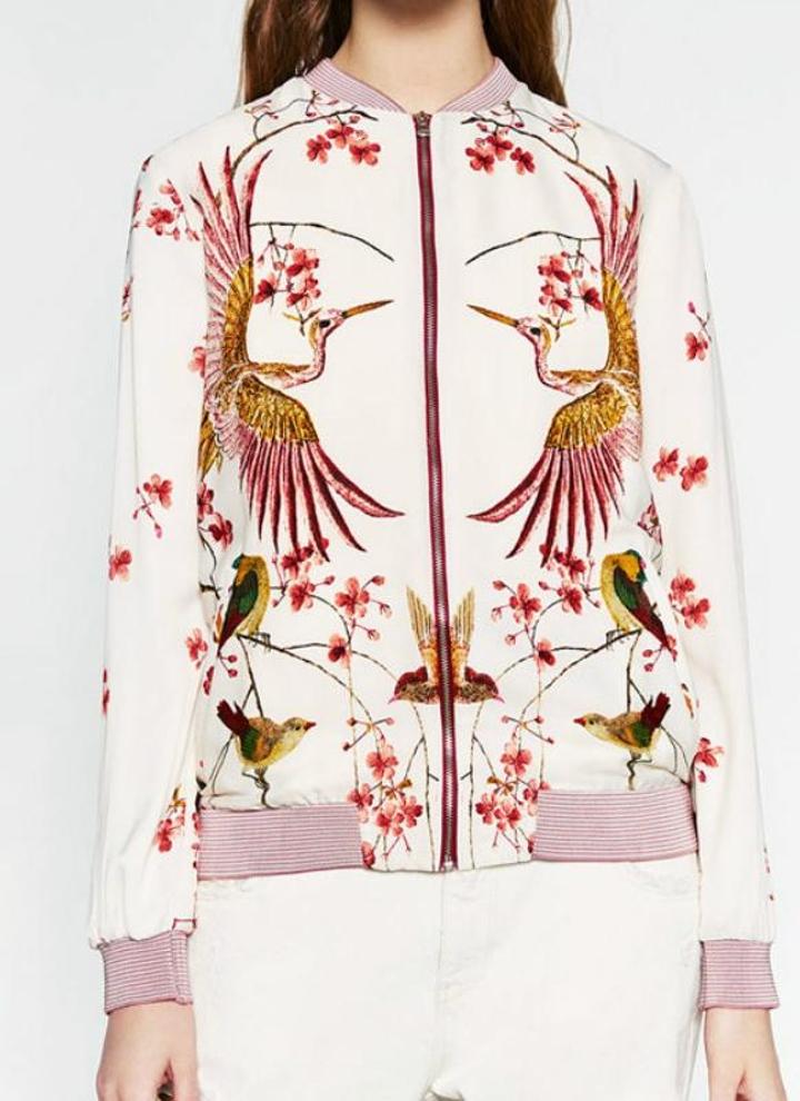 Nouveau longues Imprimer Support Veste colloar manches floral Femmes Bomber Baseball blanc Mode Oiseaux rayé manteau Casual MpSUVz