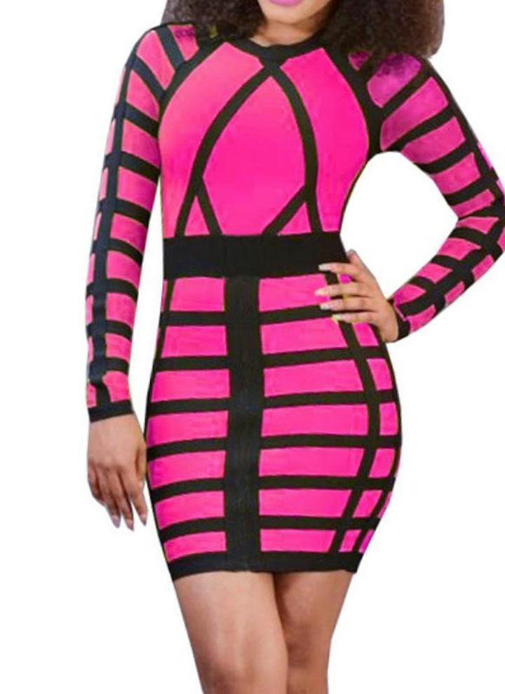 l rosa Atractivo de las mujeres mini vestido ajustado de color ...