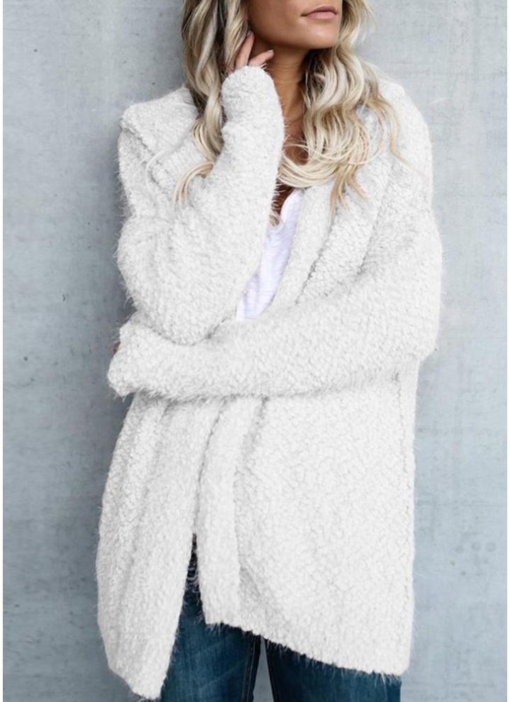 f23728e055c3fd Fashion Women Fleece Hooded Cardigan Open Front Long Sleeve Solid Warm  Hoodie Outerwear Loose Sweater Coat