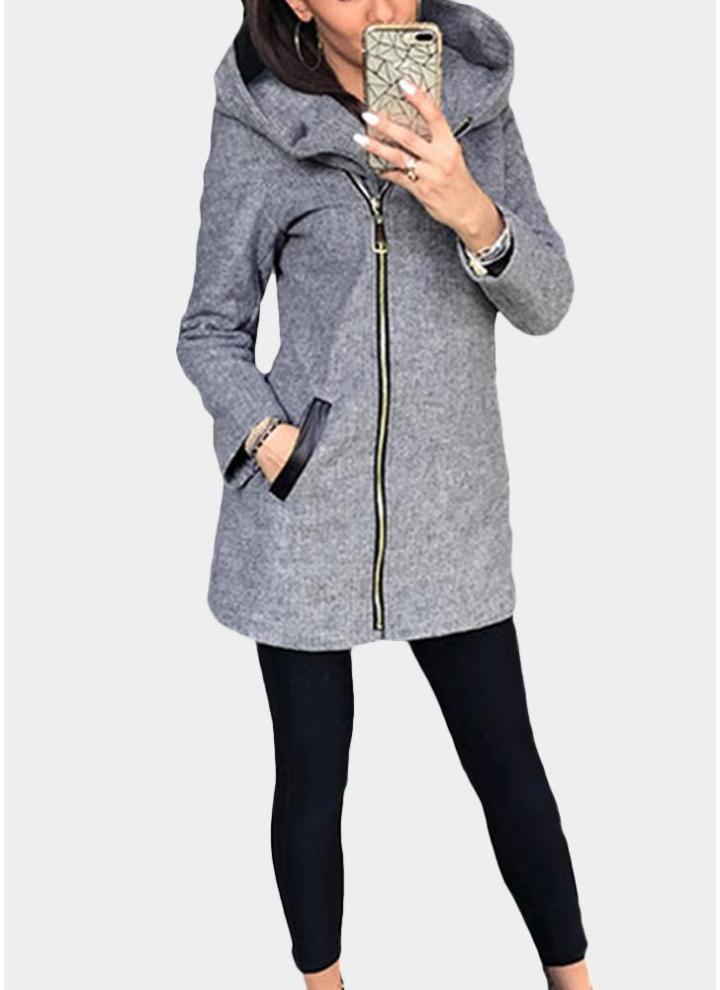 05d68c669abea2 grau xl Frauen-beiläufiger mit Kapuze Hoodie-langer Ärmel-Taschen-Sweatshirt-Mantel  - Chicuu