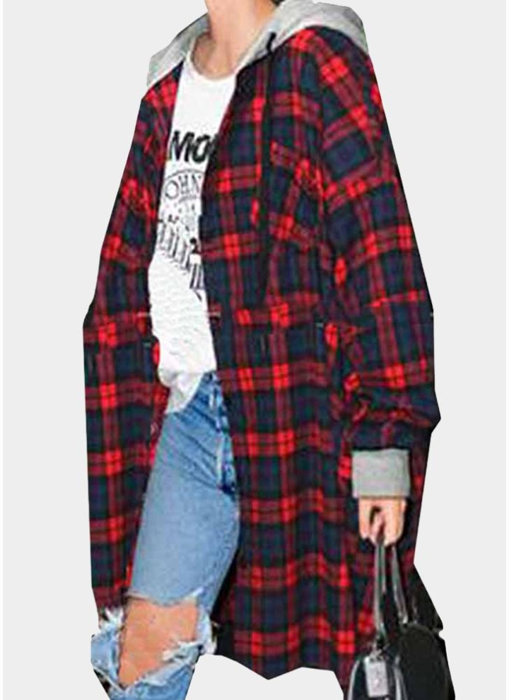 acec5ed0d6 Camicia oversize con orlo irregolare a maniche lunghe con bottoni a manica  lunga scozzese da donna