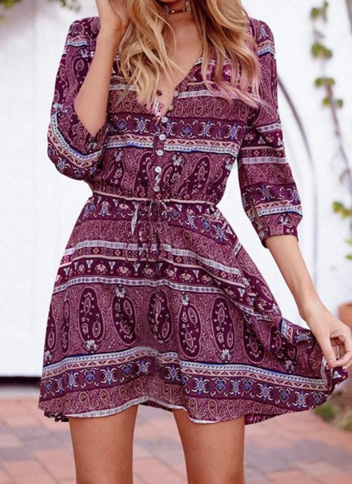 l púrpura Vestido de las mujeres del verano de Boho de la vendimia ...