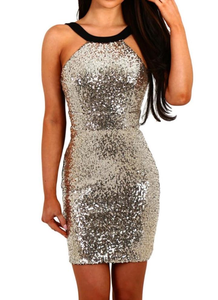 golden xl Sexy Frauen mit Pailletten-Kleid Backless ...