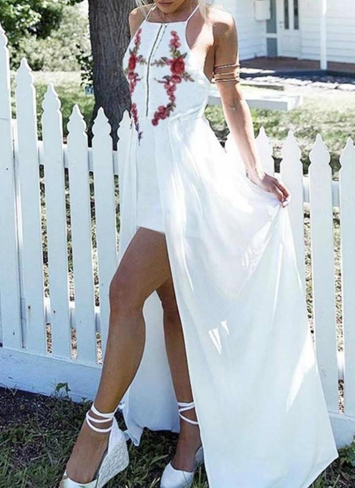 Lungo sexy donne Split vestito floreale ricamo di Applique Croce Indietro  maniche spiaggia di estate per 9d487abe764