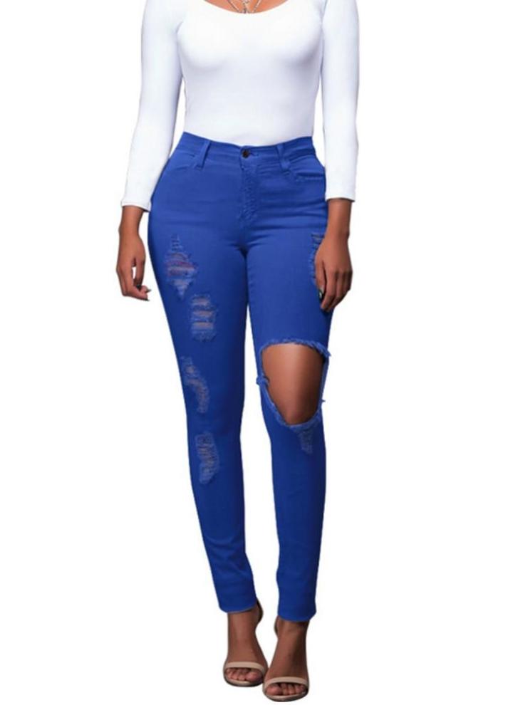 05c9df8d48 Nuovo sexy delle donne denim jeans strappati Hole Collant a vita alta  Skinny Bodycon pantaloni a matita pantaloni