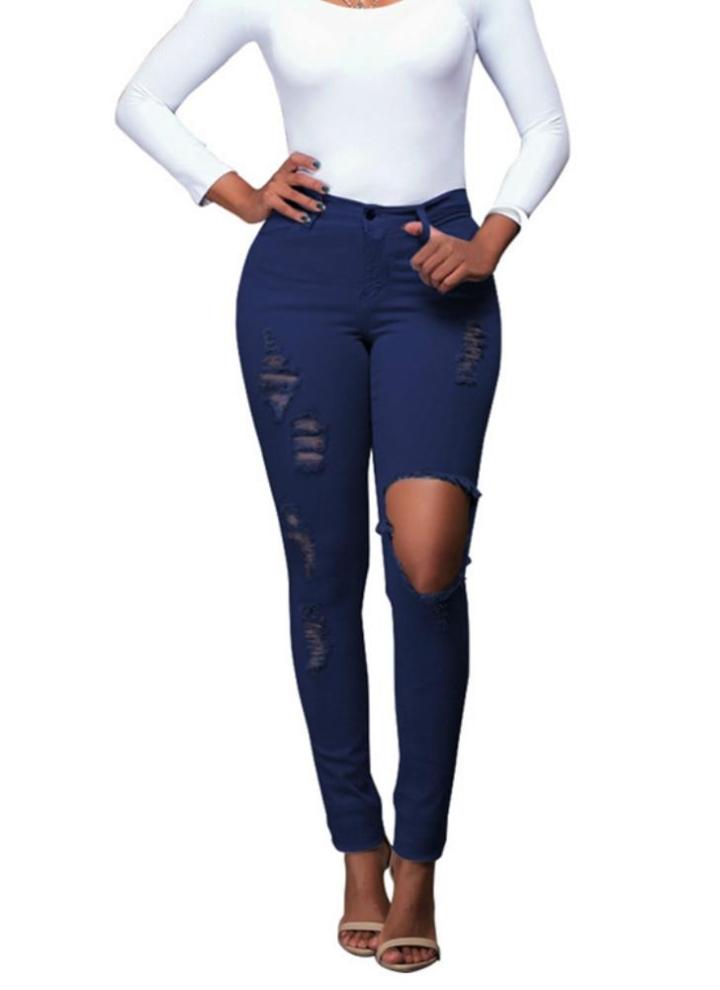 Neue reizvolle Frauen Denim Jeans Zerrissene Loch Tights mit hoher Taille dünn Bodycon Hosen Bleistifthose