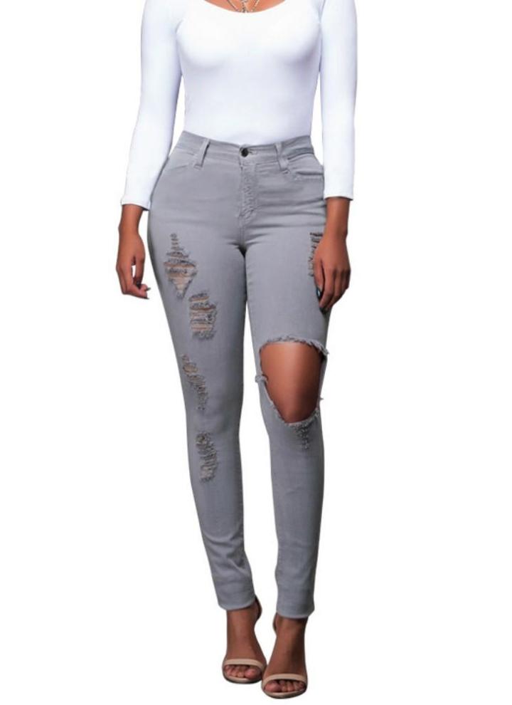 661426772b Nouveau Femmes Sexy Jeans Ripped trou Collant taille haute Skinny moulantes  Pantalons Crayon Pantalons