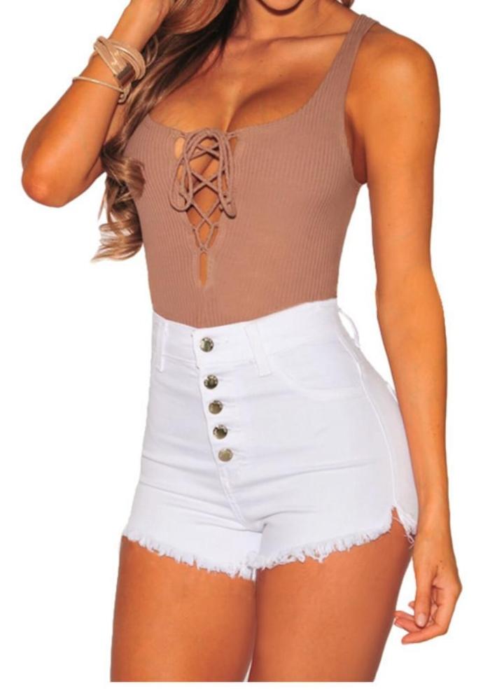 New Sexy Frauen-Denim-Shorts ausgefranste gerippten Kanten Knopf mit hohen  Taille dünne kurze ed10efde15