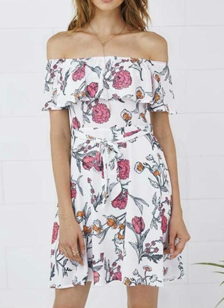 Vestito floreale dell annata stampata fuori dalla spalla vestito casuale  della A-Line delle 6514766eb9e