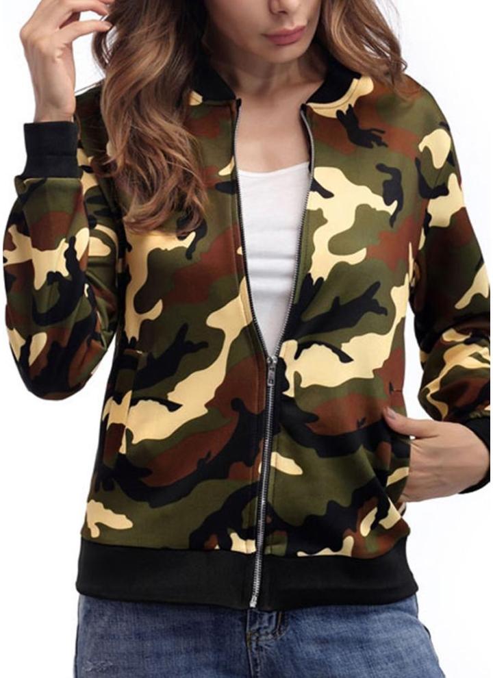 und Weise Art Camouflage Jacke Reißverschluss Frauen Mantel Baseball beiläufige pSVzUM